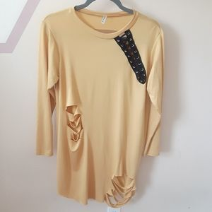 Cut Out Front And Back Blouse/Tunic